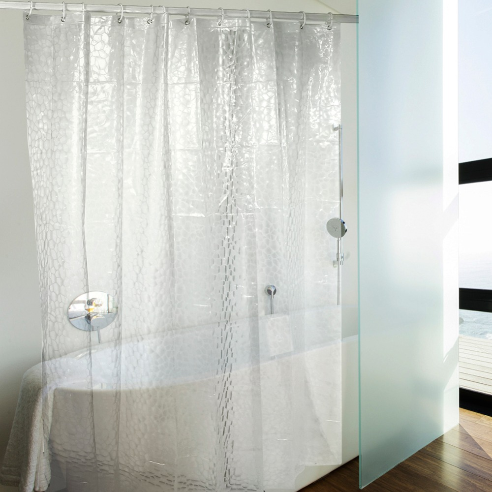 Blue bathroom curtains - Peva 3d Water Cube Translucence Waterproof Shower Curtains 3d Thicken Shower Curtains Bathroom Curtain Blue White