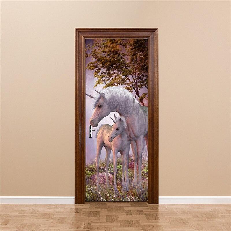 Mystery Animal White Unicorn European Home Decoration 3D Door Stickers The Door Stick Kids Room Art Decal Decoration For Doors-in Door Stickers from Home & Garden