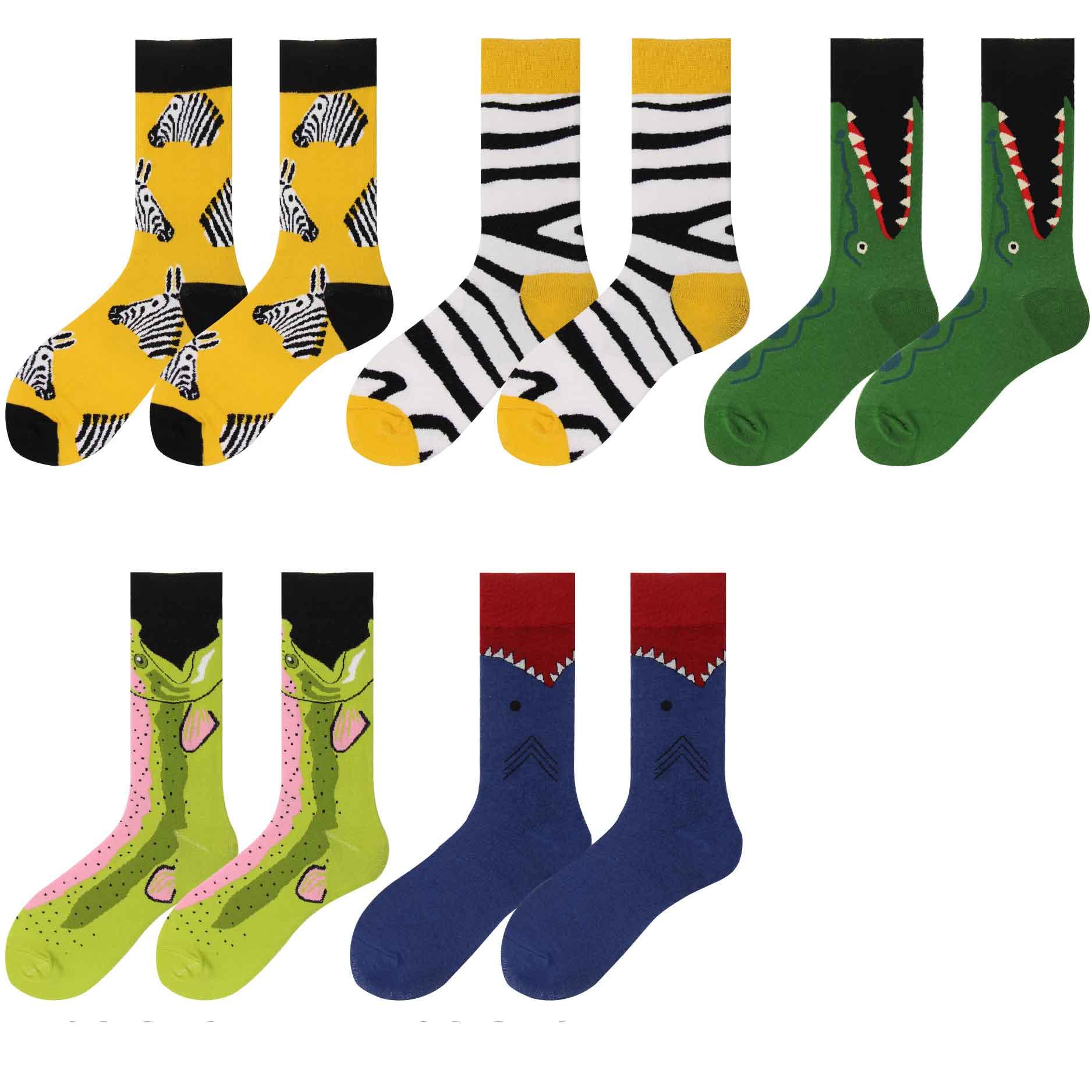 men happy socks funny gifts for couple cotton crocodile zebra electric eel casual marvel merino