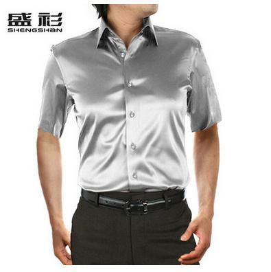 Новое поступление, летняя стильная шелковая Повседневная однотонная мужская рубашка с коротким рукавом, трендовая модная повседневная рубашка из искусственного шелка - Цвет: silve