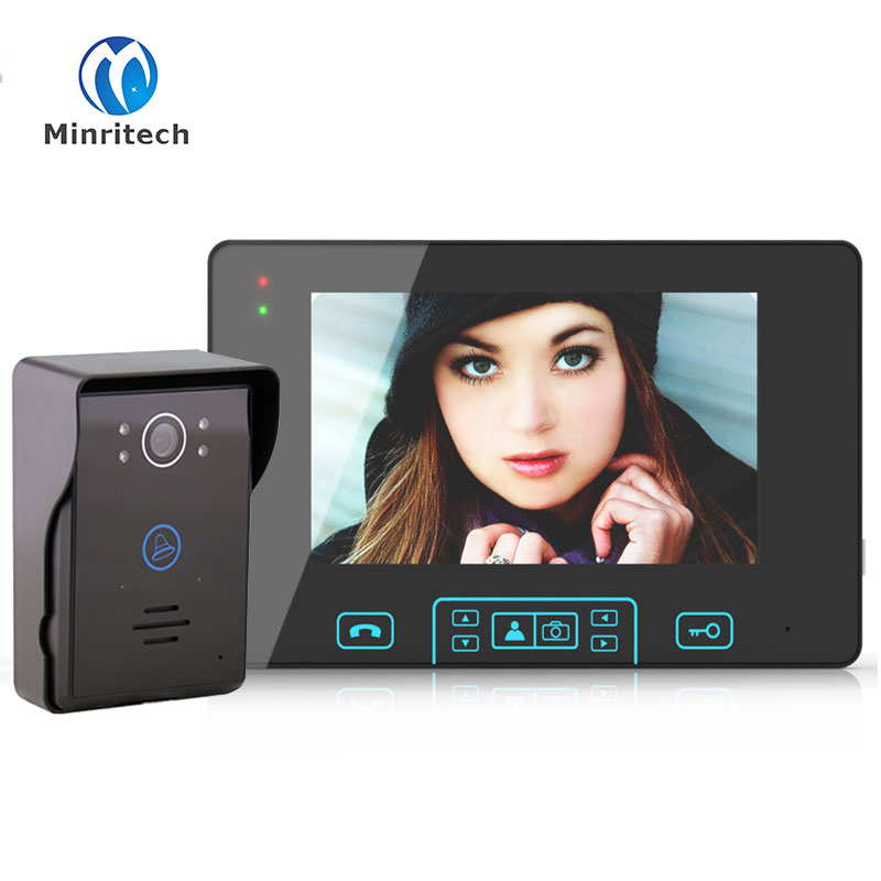 Top Quality 7 LCD WiFi Wireless Visual Intercom Doorbell Night Vision Video Recordable TFT LCD Touch Button Visual Doorbell
