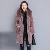 2019 элегантный лохматый женские пальто с искусственным мехом уличная осень Зимние теплые плюшевые Тедди пальто плюс размер пальто Костюмы д...