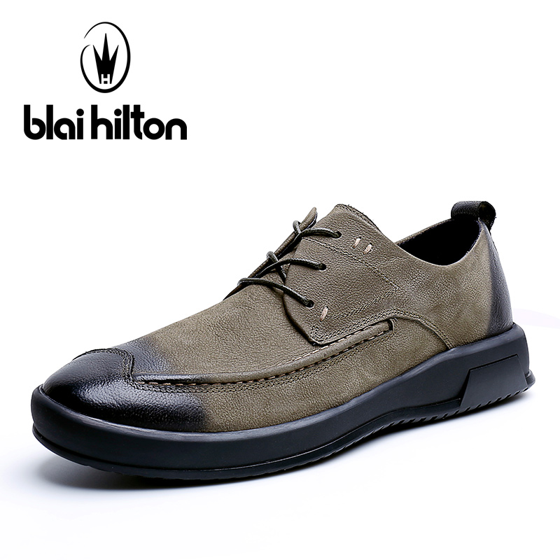 Blai Hilton 2018 New Spring/Autumn men shoes 100% Genuine Cow Leather shoes Breathable/Comfortable Business Men's Casual Shoes new 2018 spring autumn 100