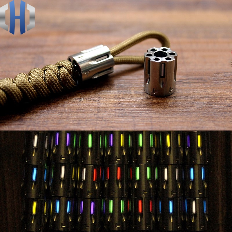 Titanium Alloy Knife Beads Paracord Can Fits Six Tritium Gas Tube Knife Lanyard Rope Outdoor Gadget EDC Multi Tools Zipper Head