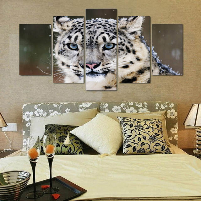 Online Shop Snow Leopard 4k Spray Painting Set Of 5 For Office Room