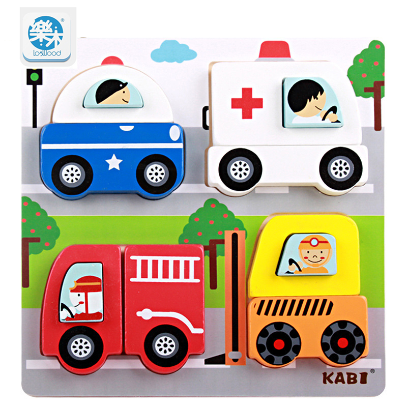 Logwood Kids Wooden 3D Puzzles Toys Cartoon animal traffic education jigsaw Puzzle Montessori toy for children gifts