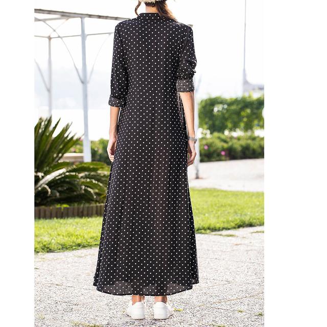 Summer Women's Maxi Dress Long Sleeve Dot Dresses Fashion V-neck Ladies Long Dress Women Evening Party Dress New 2020