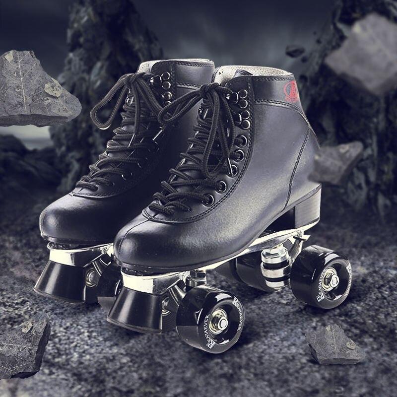 Prix pour Double Patins à roulettes En Cuir Véritable Métal de Base Noir Hommes Patin À Roulettes Patins Hommes Patins Patines Adulto Adulte Skate Chaussures