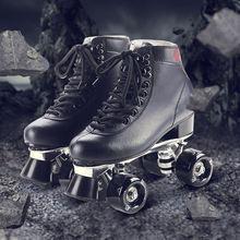 RENIAEVER Patines Patines de Rodillos Dobles de Cuero Genuino Negro de Los Hombres Los Hombres Patines Patins Patins Adulto zapatillas de Skate Para Adultos