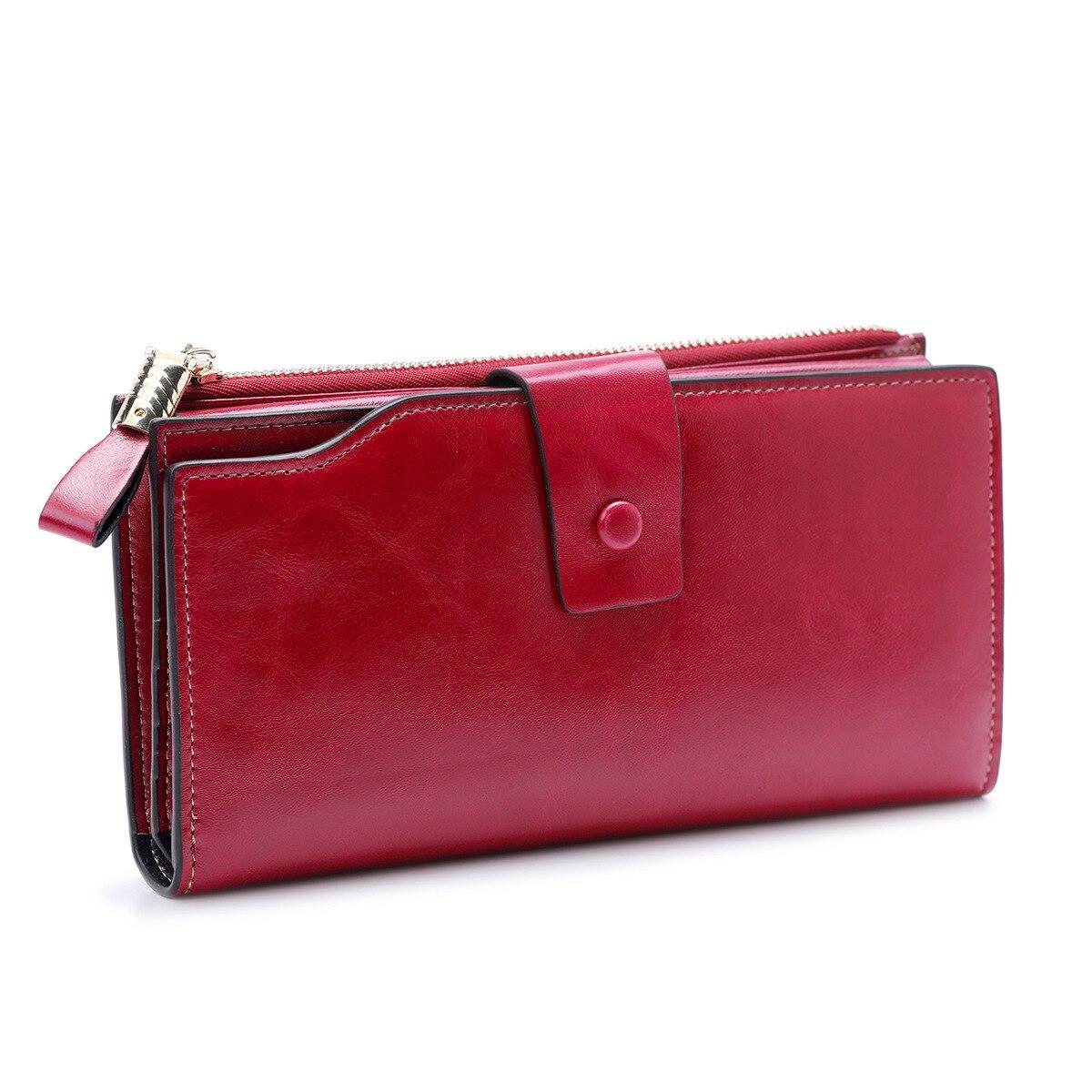 Модный женский кошелек из натуральной кожи, Женский карман для сотового телефона, длинные женские кошельки с застежкой, масло, воск, кожа, Женский кошелек для монет, держатель для карт - Цвет: wine red