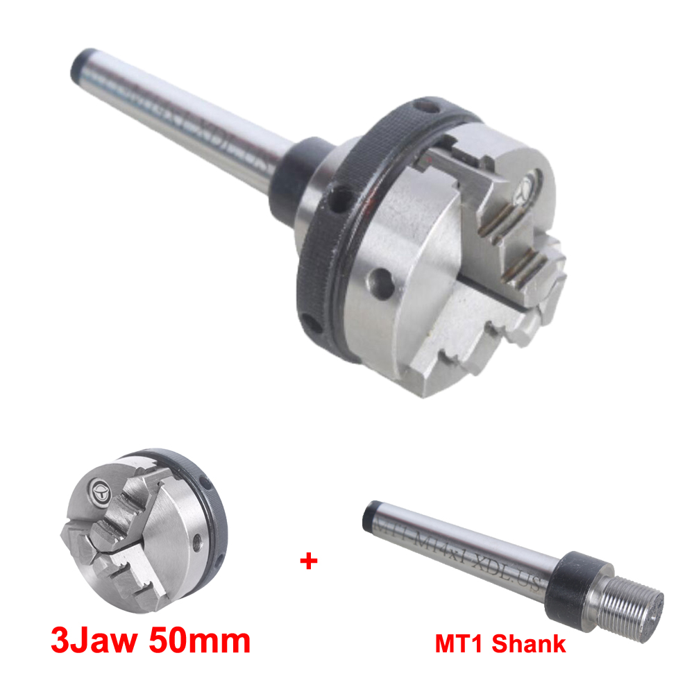 Three 3 Jaw self centering chuck Mini Morse Taper NO.1 lathe chuck for CNC machine 50mm DIY Metal Lathe Accessories hight quality morse taper shank drill chucks set cnc lathe drill chuck 5 to 20mm b22 with no 3 morse taper mt3 with key