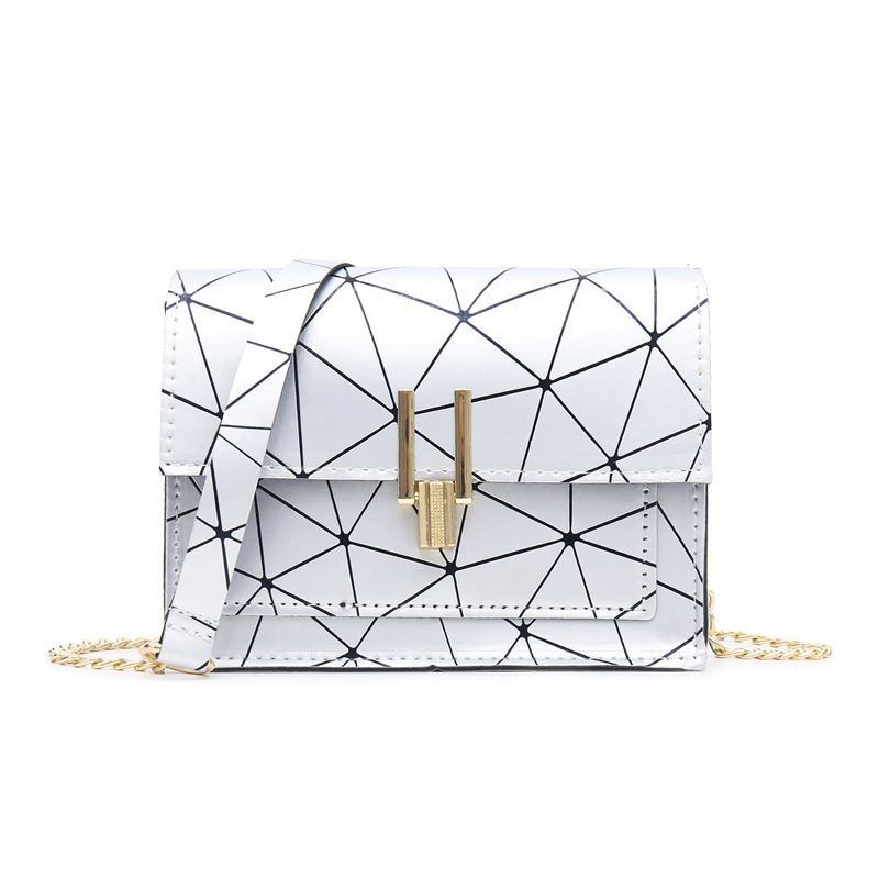 Synthetic Leather Material Simple Shoulder Bag Ladies Fashion Luxury Handbags Buckle Small Square Bag 2019 Summer New Style in Shoulder Bags from Luggage Bags
