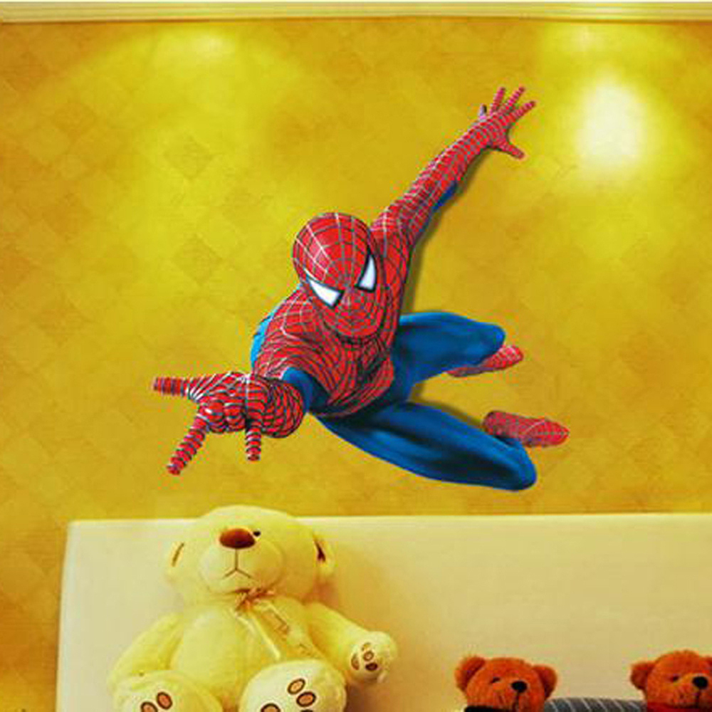 3D Spiderman Wall Stickers For Kids Rooms 110*90cm Removable ...
