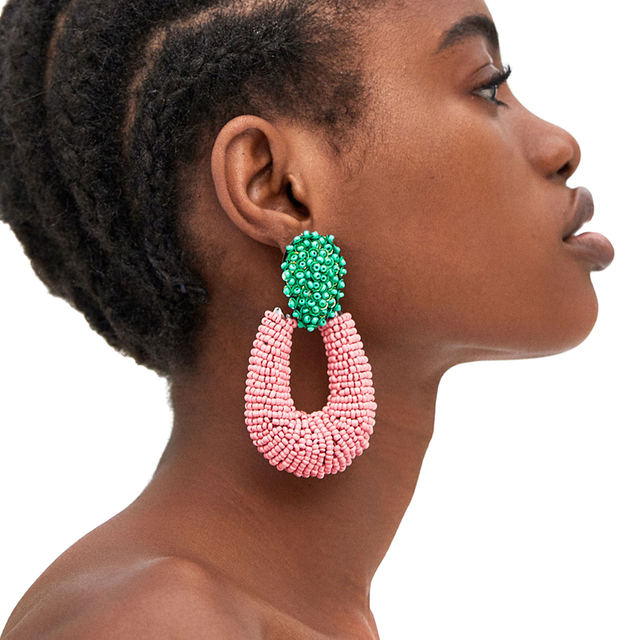 Jujia 4 дизайна женские модные серьги брендовые бусы серьги для женщин розовые ZA бисером круглые серьги