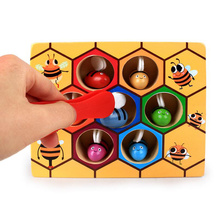 2019 Wooden Leaning Educatinal Toys Montessori Hardworking Bee Hive Games Children  Educational Toy