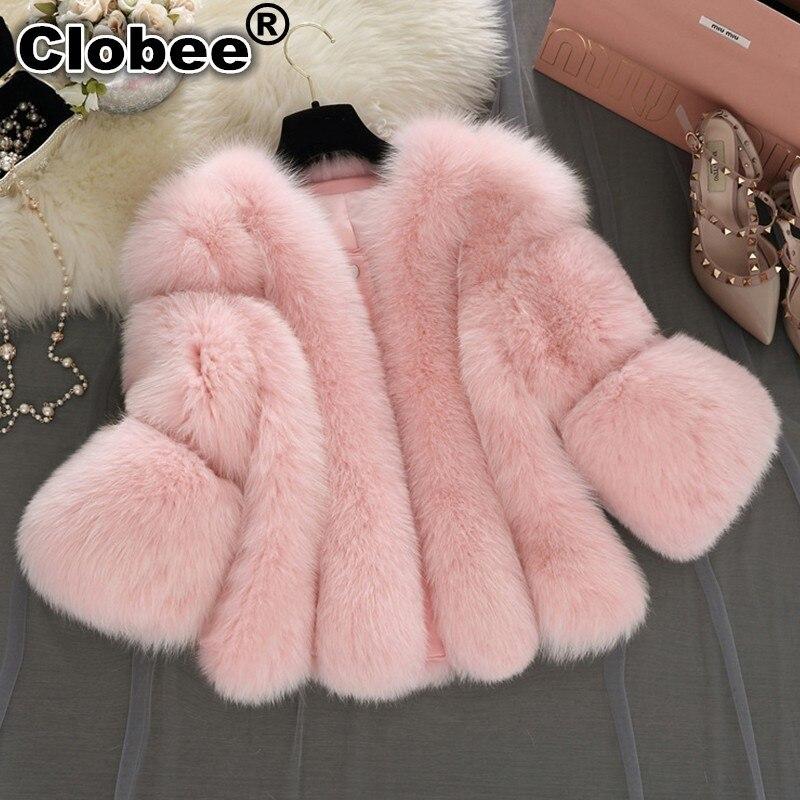 grigio colore Di Inverno Pelliccia Fur Furry Volpe Faux Outwear Donne Bianco Rosa Giacca Soprabito Plus Bianco 2018 Coat Breve Finta Donna Size qI1ww0R
