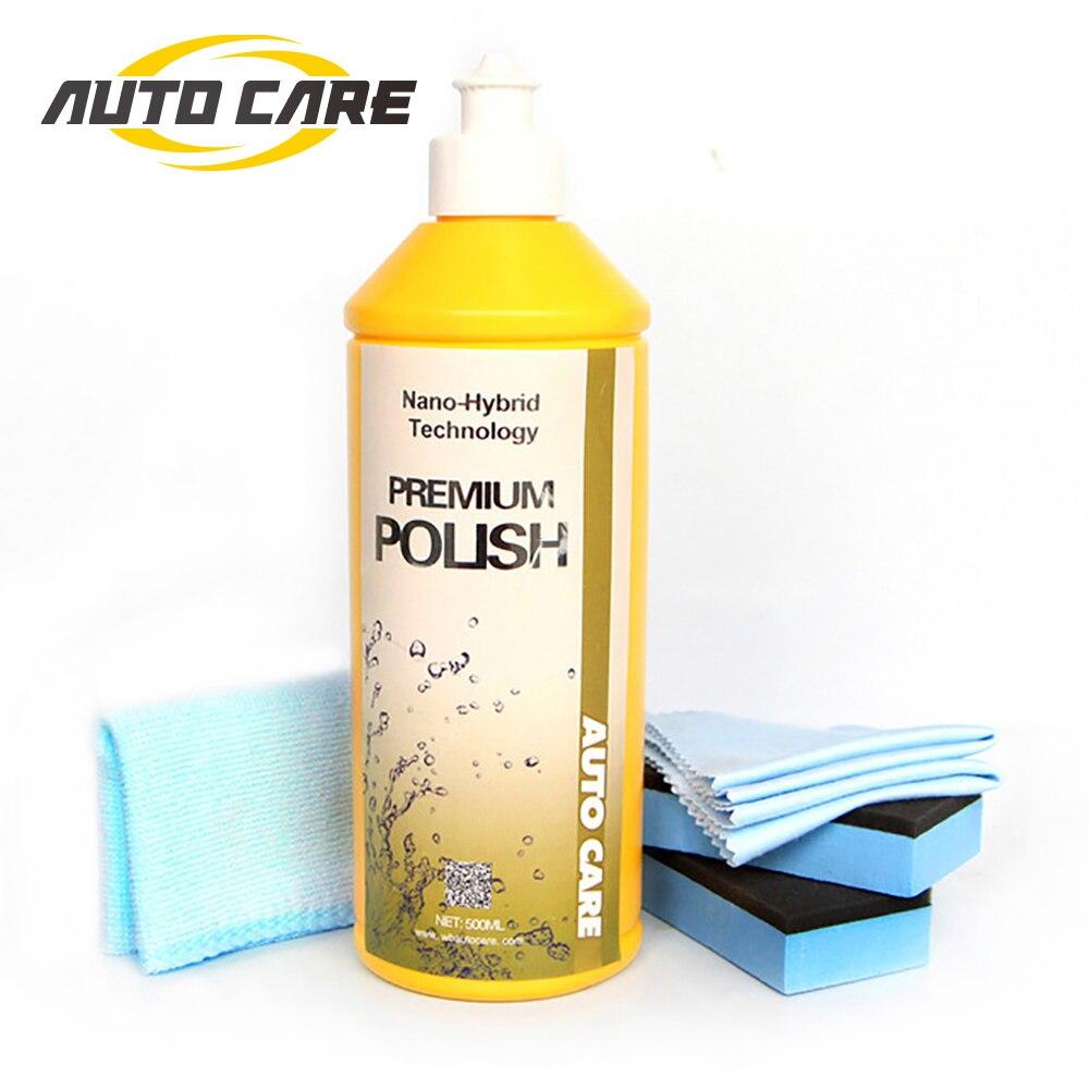 500ml de Vidro Carro Polonês Líquido 3 em 1 Cerâmica Final Carro Polonês Cera Broca Micro Remove Arranhões Da Pintura Do Carro reparação Líquido De Polimento