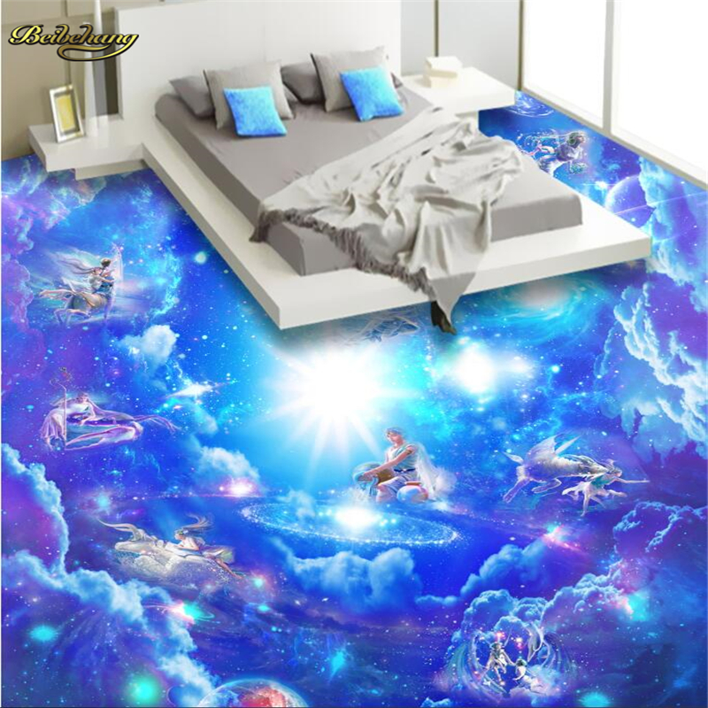 beibehang papel de parede 3d Constellation Galaxy pvc self adhesive wallpaper floor tiles photo mural wall papers home decor  beibehang shells pigeons papel de parede 3d flooring wallpaper for walls 3 d pvc self adhesive wallpaper floor tiles wall paper