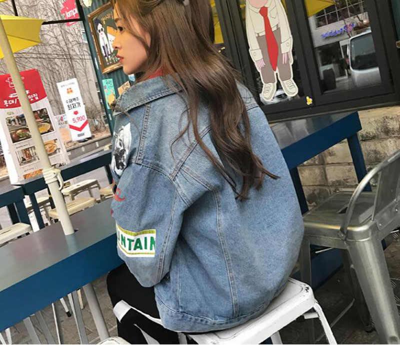 3a910b76c 2019 Spring Graffiti Denim Jacket Women Streetwear Loose Vintage Coat  Single Breasted Casacos Feminino Jean Jacket Outerwear