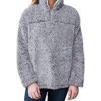 Women Hoodie Zip Pullover Pile Stadium Sweatshirts Fleece Plush Warm Tops Ladies Long Sleeved Pullovers Hoodies