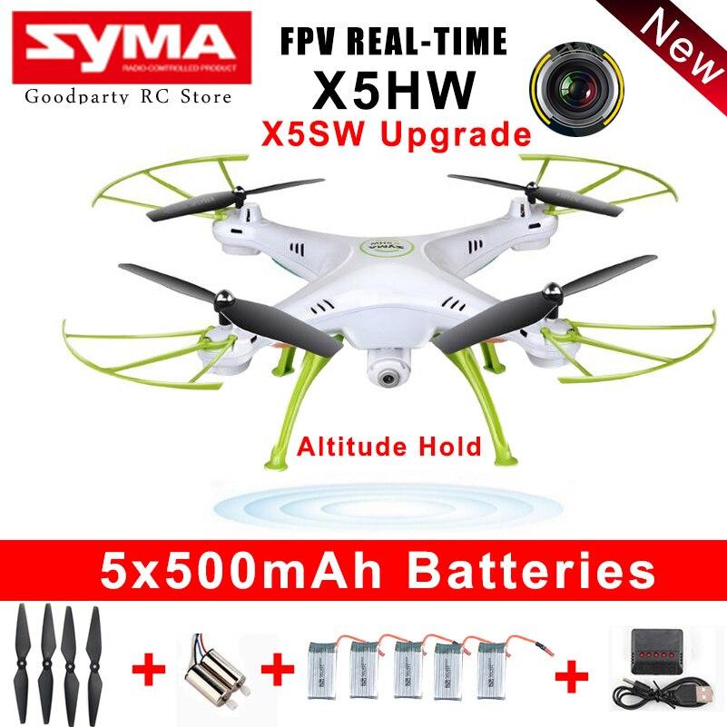 SYMA Drone con cámara HD Wifi FPV Selfie drones Quadrocopter RC helicóptero Quadcopter RC Dron Toy X5HW (X5SW actualización)