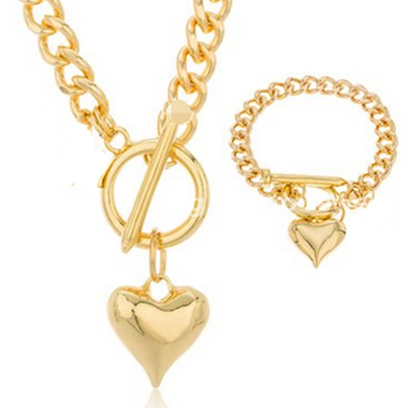 HOT SELL Romantic Jewelry Set 316L Stainless Steel Gold Bracelet&Necklace Chain 5mm*45cm/20.5cm Heart Beautiful Girl Wedding