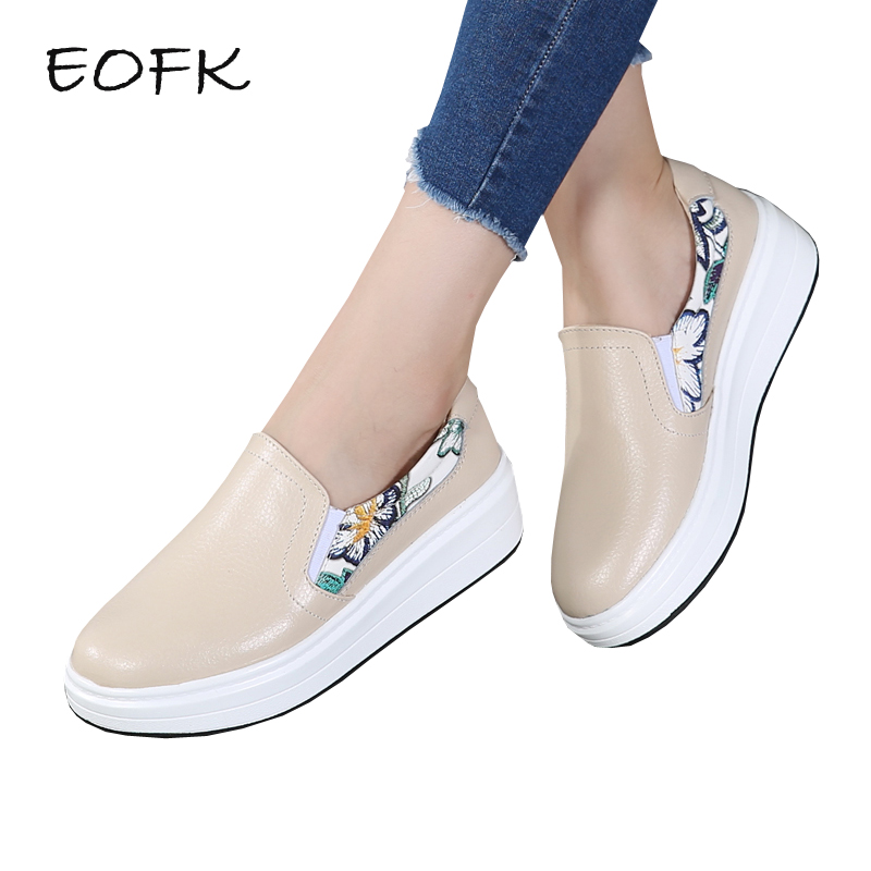 EOFK Women Loafers Women's Flats Soft leather Shoes Woman New Spring Autumn Lady Loafers Casual Printing Slip On Flat Shoes средство от комаров и или клещей детское picnic baby 125 мл