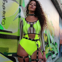 Kryptographische Mode Neon Grün Bodysuit Schnalle Cut-Out One Piece Sommer Sexy Backless Overalls Bodycon Sleeveless Frauen Tops(China)