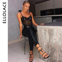 Ellolace White Lace Mesh Elegant Bodysuit Female Jumpsuit Backless Transparent Sexy Bodys 2019 Holographic Summer Bodysuits