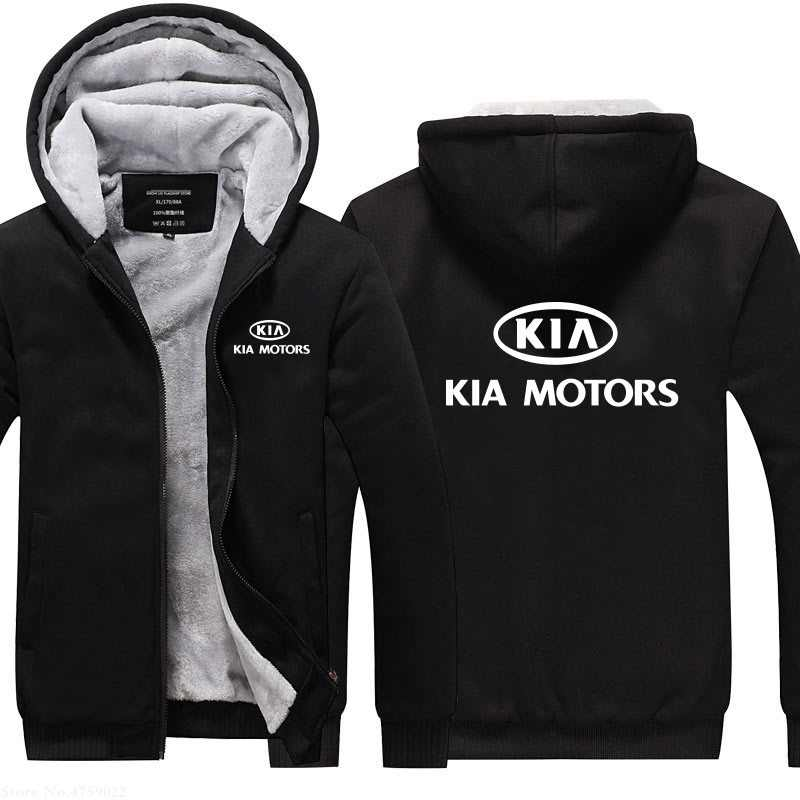Männer winter zipper hoodies KIA Motoren sweatshirt verdicken warme mantel winter casual jacken tops