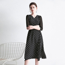 купить Retro Black Polka Dot Dress V Neck Silk Dresses Summer Midi Warp Dress по цене 7957.73 рублей