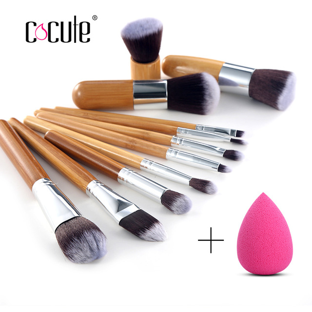 878854f692572 Cocute 11 Pcs Bamboo Brushes Handle Makeup Eye shadow Blush Concealer Brush  Set With Face Makeup Sponges Puff