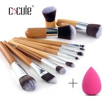 Cocute 11 Pcs Bamboo Handle Makeup Eyeshadow Blush Concealer Brush Set With Blender Makeup Sponges