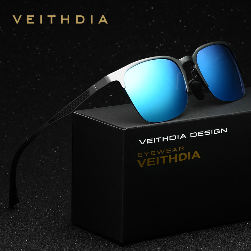 VEITHDIA Unisex Retro Aluminum Magnesium Brand Sunglasses Polarized Lens Vintage Eyewear Accessories Sun Glasses Men/Women 6631