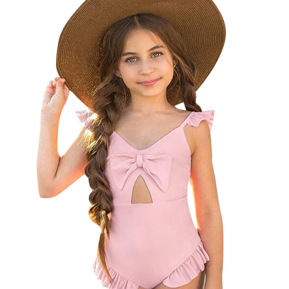 bb9d701d1c Summer 2018 Bikinis Toddler Baby Girls Pink Bowknot Bikini Swimwear Girls  Swimsuit Bathing Suit Beachwear Romper Clothes JU28