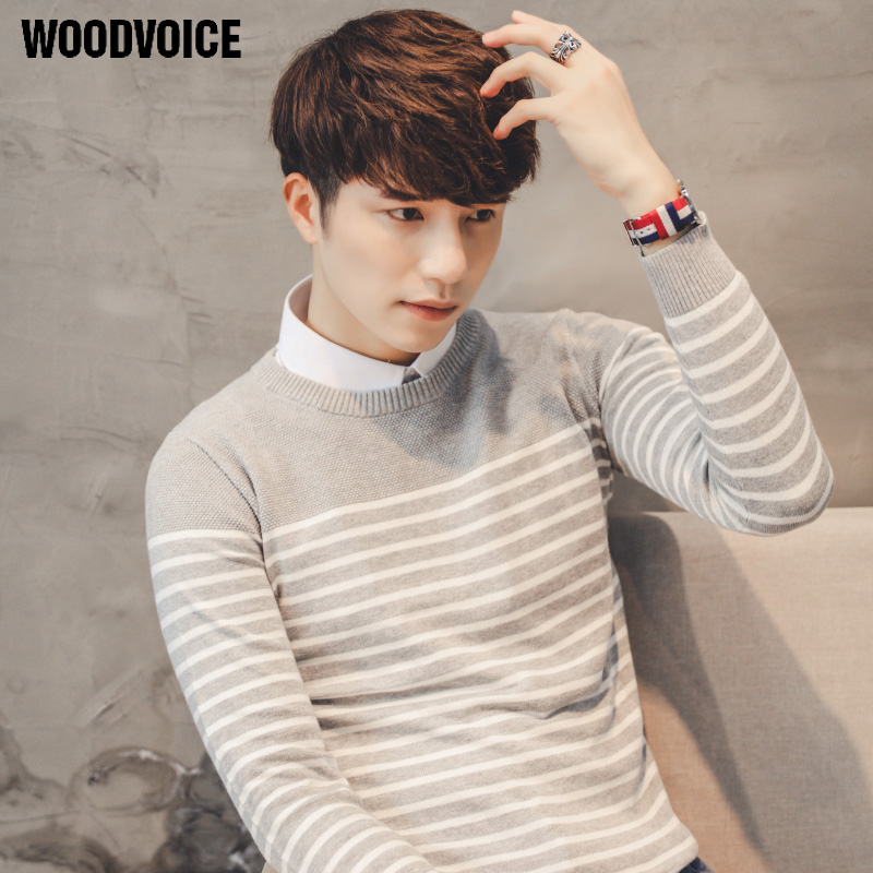 Woodvoice 2017 Brand Clothing 100% Cotton Sweater Men O-Neck Striped Mens Sweaters Male Pullover Autumn Winter Knitwear S021