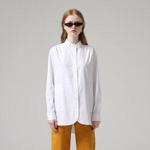 Image 4 - Toyouth moda kadın bluzlar 2019 sonbahar uzun kollu erkek arkadaşı tarzı rahat standı yaka düz renk Streetwear bluz gömlek