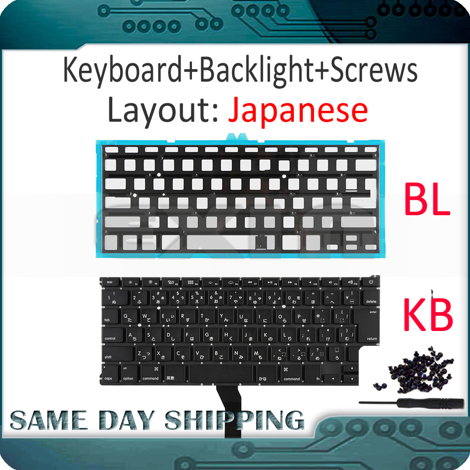 "New for Apple Macbook Air 13"" A1369 A1466 Japanese Keyboard Japan JP Keyboards with Backlight Backlight Replace 2011 2017 Year-in Replacement Keyboards from Computer & Office"