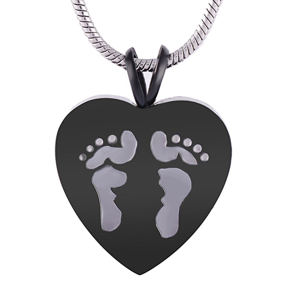Lovely Baby Foot Print Cremation Locket Pendant Heart Memorial Jewelry Urn Necklace for Ashes Keepsake