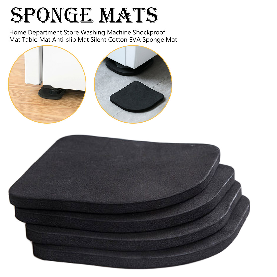 4pcs Home Department Store Anti-slip Mat Silent Cotton Sponge Mat Washing Machine Shockproof Mat Table Mat