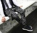 Nueva! 2015 hombres gruesa moda pantalones skinny cráneo cuatro pura de algodón estampado de zebra baja entrepierna harem pants pantalones trajes / 28-34