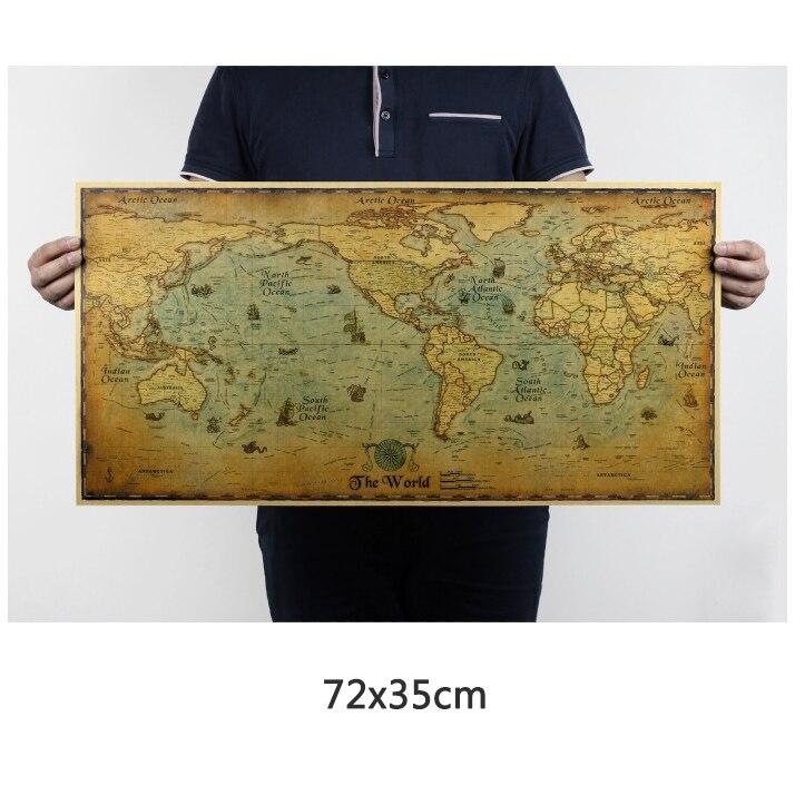 Mapa světa vinobraní Plakáty nástěnné plakáty retro krafts papírový bar kavárna nástěnná malba nálepka obývací pokoj výzdoba umění starověký mapy světa