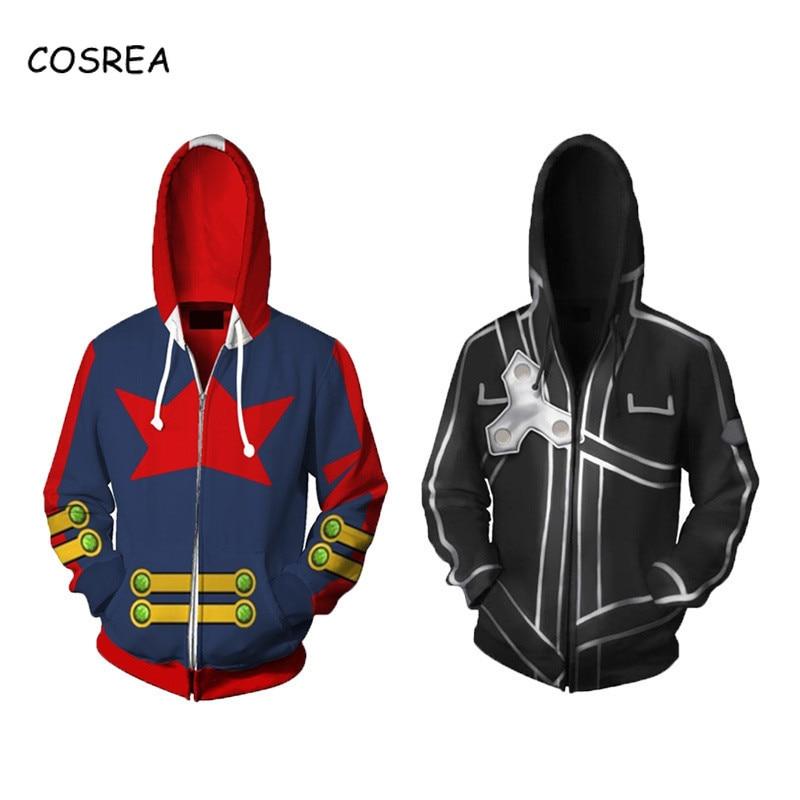 Anime Sword Art Online Hoodie Sweatshirt  Kirito Sao Costume Tengen Toppa Gurren Lagann Simon Cosplay Costume Men Hoodies Zipper