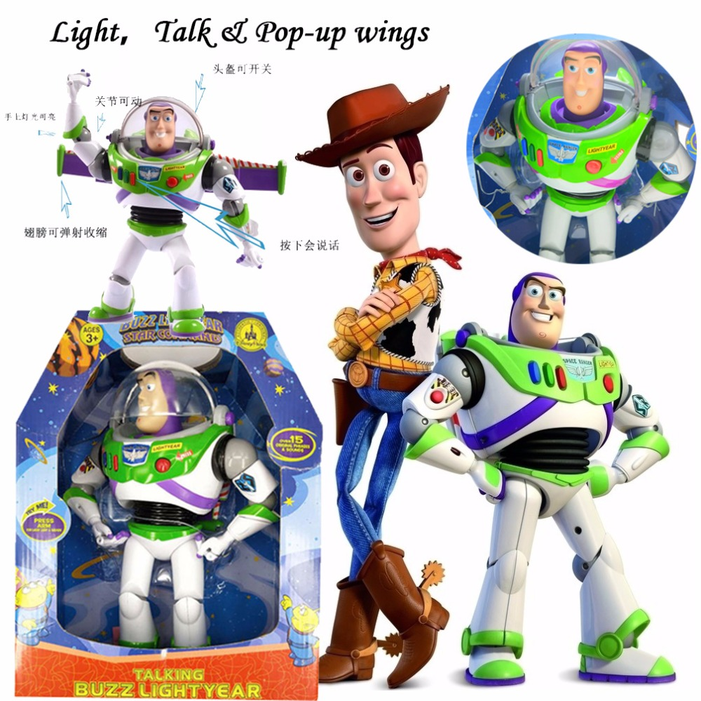 Action Toy Story Buzz Lightyear Can Talk Pop Up Wings Gift For Children Woody And Jessie Models Movable Buzz Lightyear Toy Story