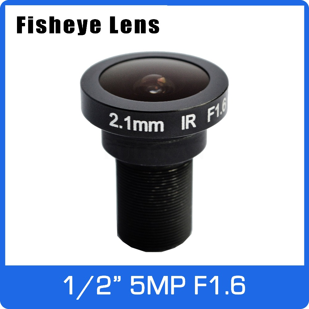 5Megapixel 1/2 inch 186 degree Fisheye Lens 2.1mm Big Aperture F1.6 For 1080P/4MP/5MP AHD/CVI/TVI/IP CCTV Camera Free Shipping