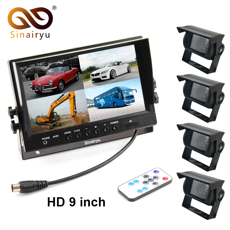 Sinairyu DC 12V/24V 9 Inch 4CH Video Input Car Parking Monitor With 4 Rear View Camera 15M Cable For Truck Caravan Vans
