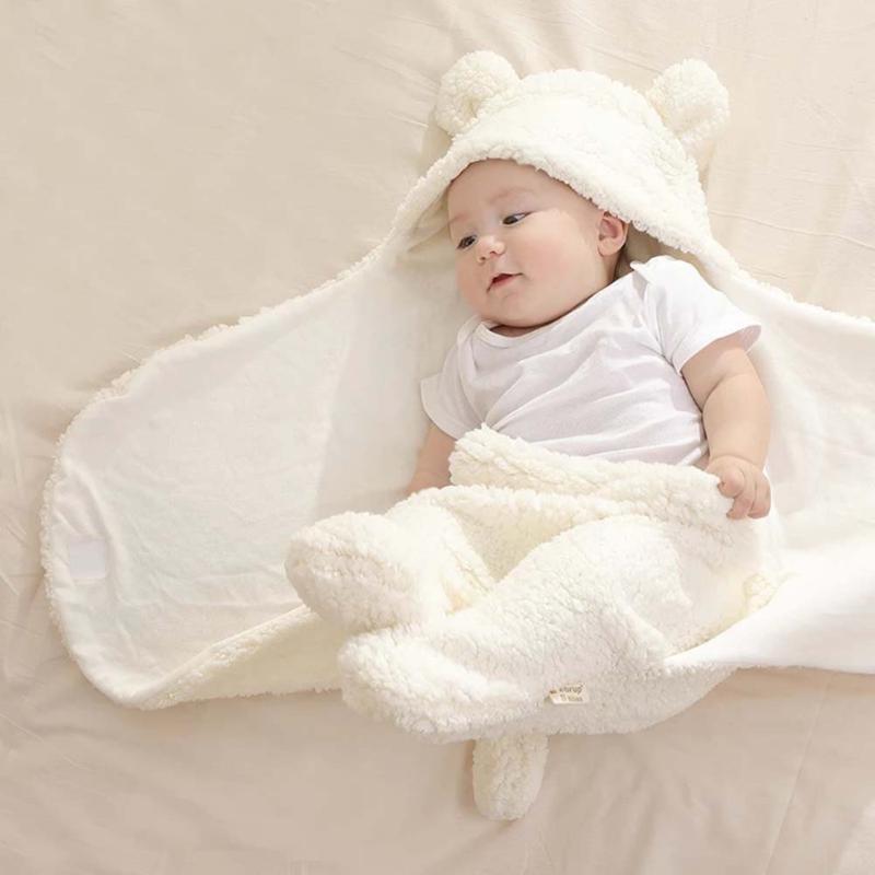 Winter Baby Blanket Cute Cartoon Bear Ears Newborn Swaddle Wrap Warm Unisex Infant Sleeping Bag Soft Envelope Kids Bedding Quilt