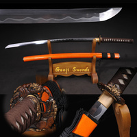Full Handmade Japanese Katana Damascus Folded Steel Clay Tempered Real Samurai Sword Sharp Edge Orange OX horn Saya