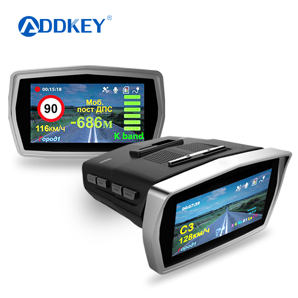 ADDKEY 3 in 1 Dash cam Ambarella A7LA50 Car Radar DVR Camera 1296P GPS for Russian Speed Anti Radar Detector Video Car Recorder