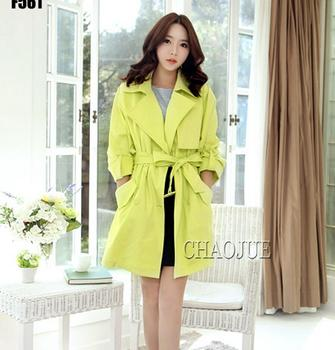 2017 New trench coat Women's fashion slim Fluorescent green plus-size trench coat spring coat women overcoat S-4XL